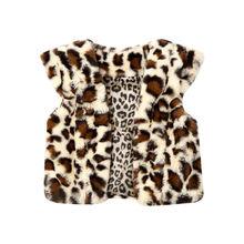 От 1 до 6 лет, милый детский жилет для маленьких девочек, пальто, теплый жилет с леопардовым принтом, куртка, меховой жилет, зимняя одежда