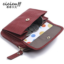 Coin Purses First Layer Cowhide Leather Coin Pouch Women Mini Wallets Lady Small Purse Credit Card Wallet change purse Money Bag