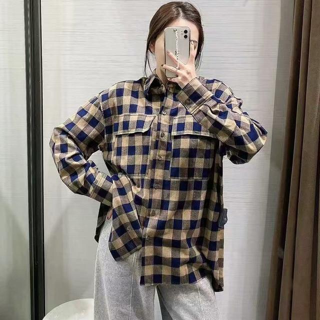 ZA 2020 New Fashion Women Plaid printing chiffon shirt Turn down Collar Blouses Long Sleeve Chiffon Shirt Casual Loose Tops 4