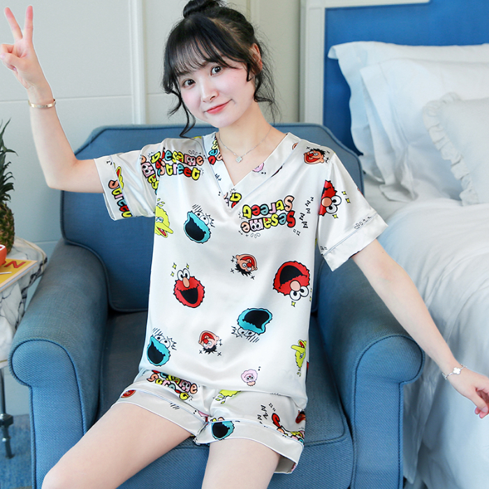 Silk Pajamas For Women Short Sleeve 2 Pcs Sleepwear Ladies Summer Cool Comfortable Pyjama Sets Girls Smooth Silk Good Quality