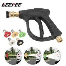 "LEEPEE 14MM M22 Socket 1/4"" Auto Quick Release Snow Foam Gun Car Washer 5PCS Soap Spray Nozzles Car High Pressure Water Gun"