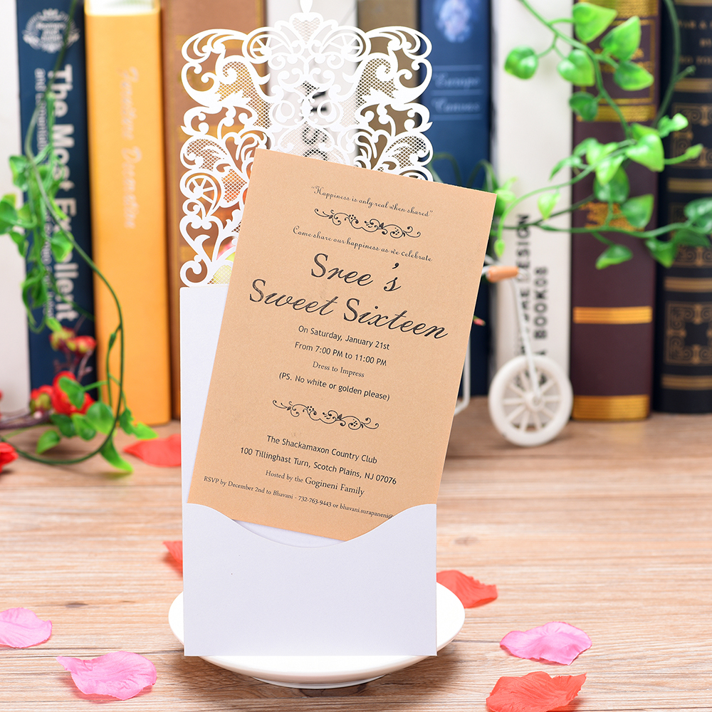 1 Piece sample lace style glittery wedding invitations share wedding Birthday Gender Reveal party invitation card laser cut set in Cards Invitations from Home Garden