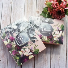 21*14*5cm 5pcs Retro style deep flower design Cookie mooncake Gift Paper Box bag Macaron Chocolate Snacks Sweet Candy use pack