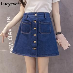 Image 3 - Lucyever Denim women mini skirt summer vintage high waist Korean single button pockets blue jeans A line ladies saia jupe femme