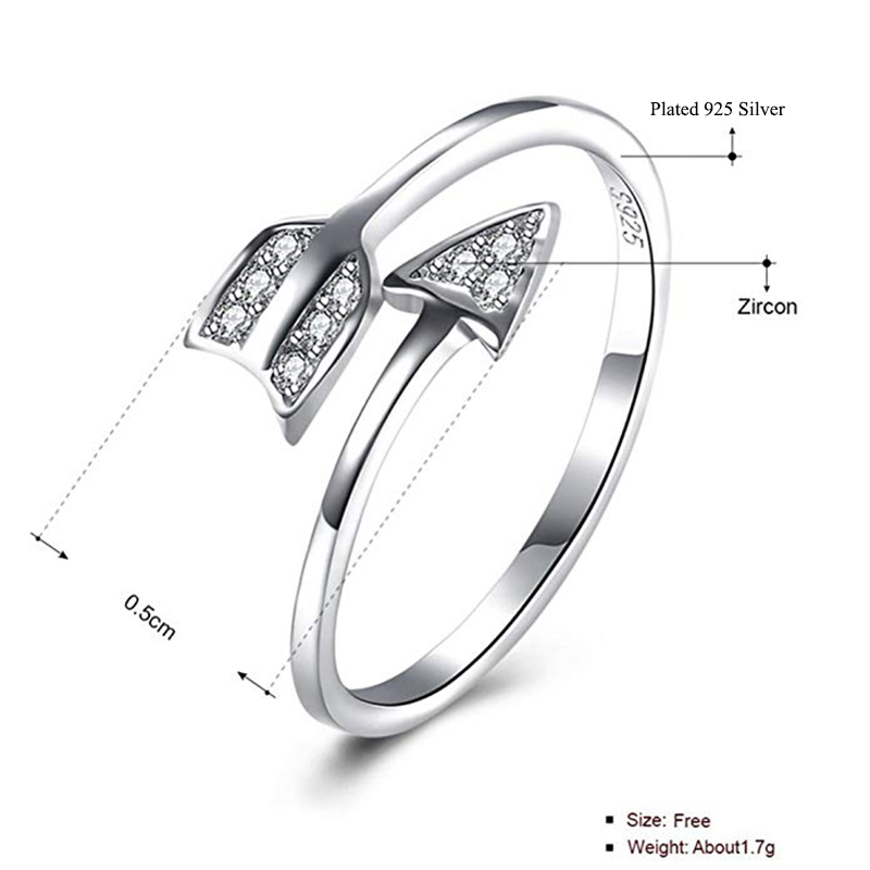 Qevila Fashion 925 Silver Rings Arrow Crystal 925 Sterling Silver Ring Adjustable Wedding Silver 925 Ring for Women Jewelry Gift (2)