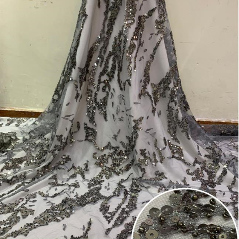 Grey Burgundy African Lace Fabric 2020 High Quality French Bridal Lace Nigerian Tulle Lace Fabrics With Sequins For Wedding