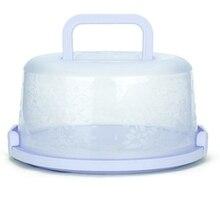 Пластиковая круглая коробка для выпечки, коробки для хранения кондитерских изделий, чехол для контейнера для десерта на день рождения, свадьбу, вечеринку, кухня, синий цвет
