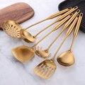 1 stücke Edelstahl Küche Werkzeuge Gold Kochen Set Spachtel Schaufel Suppe Löffel Turner Tong Küche Zubehör Geschirr Gadget-in Kochen Werkzeug-Sets aus Heim und Garten bei