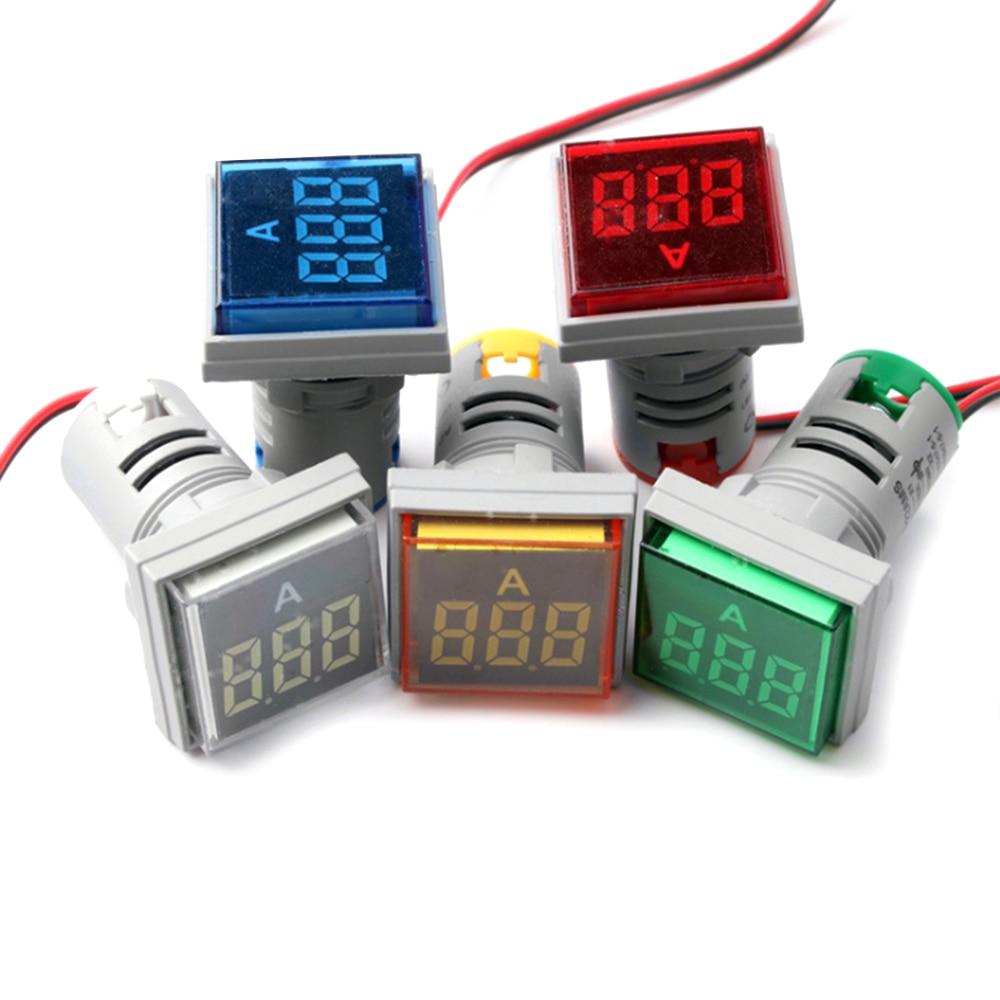 Ammeter AC 50-500V 0-100A 22mm Square LED Digital Voltmeter Ammeter Good Quality