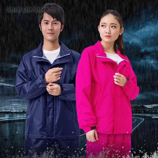 Nylon Men and Women Raincoat Rain Pants Suit Waterproof Thickened Double Blue Rain Jacket Poncho Casaco Masculino Gift Ideas 1