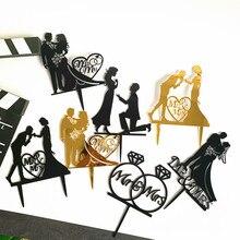 Черный акриловый торт фигурки жениха и невесты; «любящее сердце» силуэт свадебный торт фигурки жениха и невесты; MR MRS Свадебная вечеринка Де...