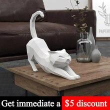 Gato preto branco estiramento animal decoração modelo de papel ornamentos decoração da arte para casa, 3d papercraft, artesanal diy adulto artesanato brinquedo rty310