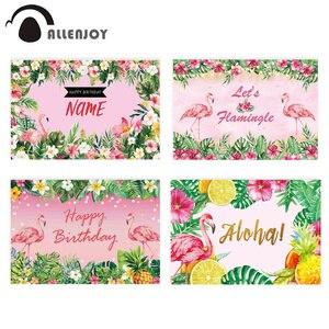 Image 1 - Allenjoy FlamingoวันเกิดPartyฉากหลังTropicalฤดูร้อนสีชมพูฮาวายAloha Jungleเด็กพื้นหลังที่กำหนดเองPhotozone Photocall