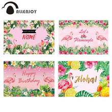 Allenjoy flamingo birthday party backdrop photography pink tropical Hawaii jungle child custom background photozone photocall