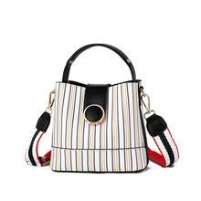 Korean Version of The 2019 New Fashion Wild Bag Female Slung Wide Shoulder Bag Luxury Handbags Women Bags Designer PU Polyester 2017 new women bag beautiful women version of the purse fashion bags