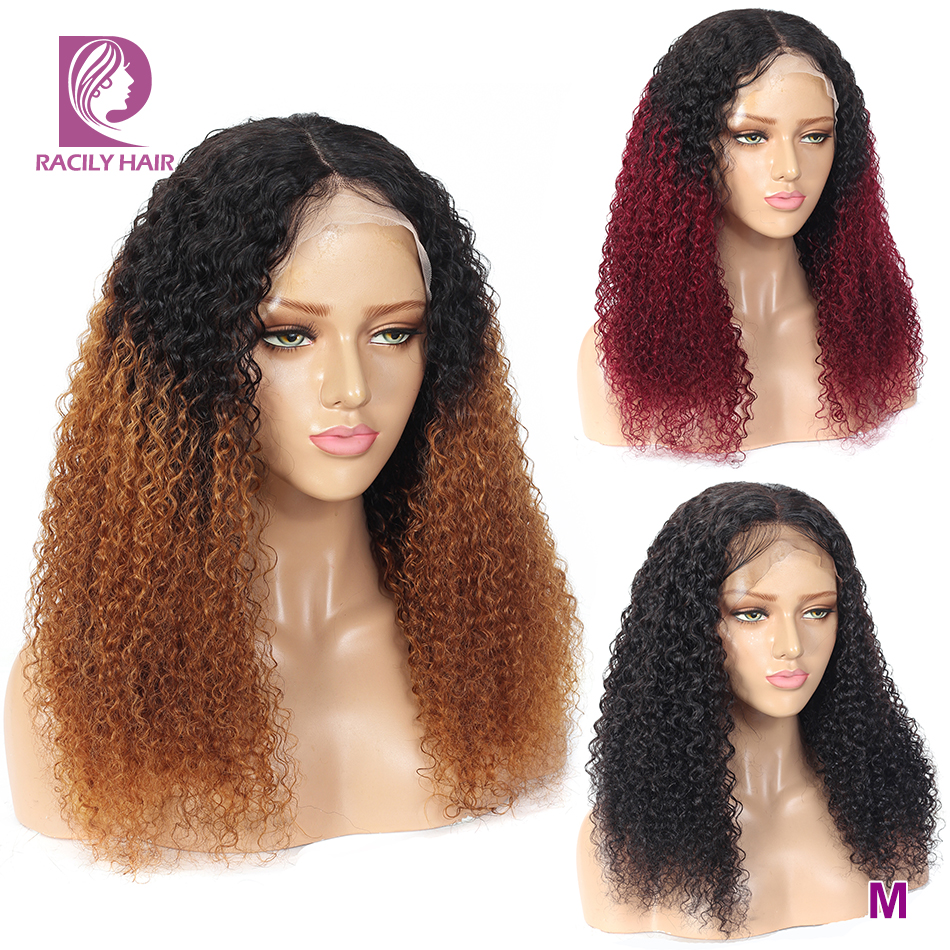 Racily Hair Brazilian Kinky Curly Lace Front Wig Burgundy Brown Ombre Human Hair Wig For Women Remy 13x4 Transparent Lace Wigs