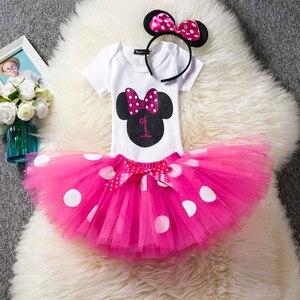 Маскарадное От 1 до 2 лет платье для дня рождения с Микки Маусом Детский костюм с Минни Маус платье-пачка в горошек, одежда для маленьких девочек, одежда для младенцев