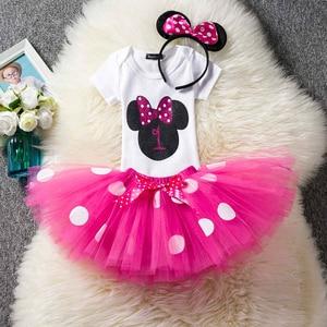 Детский костюм с Минни Маус нарядное От 1 до 6 лет платье-пачка в горошек с Микки Маусом для дня рождения Vestido для маленьких девочек, одежда для младенцев