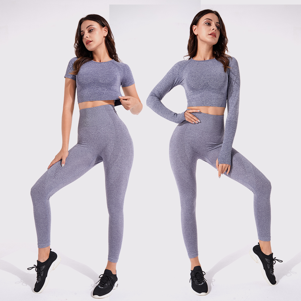 2/3PCS Seamless Women Yoga Set Workout Sportswear Gym Clothing Fitness Long Sleeve Crop Top High Waist Leggings Sports Suits