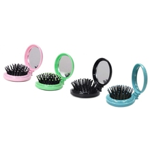 4Pcs Portable Plastic Round Folding Pocket Hair Brush Mini Comb with Makeup Mirror for Travel Candy Color