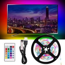 LED Strip lamp USB DC 5V Flexible light RGB 50CM 1M 2M 3M 4M 5M Ambilight Remote TV Background Lighting Control+Adapter