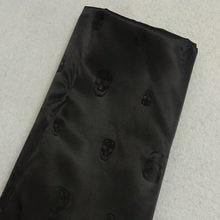 Forro de tejido de poliéster Jacquard con calavera negra, forro de tela Jacquard de 50x140cm, Estilo Vintage Punk