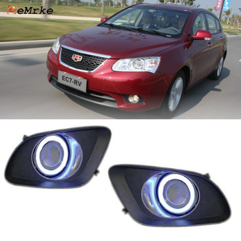 EEMRKE For Geely Emgrand EC7 (RV) Hatchback 2in1 LED Angel Eyes DRL H11 55W Halogen Fog Lights Lamp Daytime Running Lights