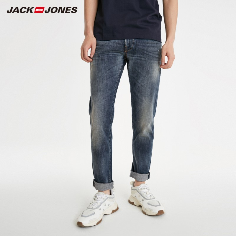 JackJones Men's Slim Fit Stretch Frayed Tight-leg Jeans Basic Menswear| 219132564