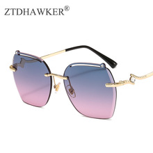 New Elegant Fashionable Ladies Frameless Trimmed Sunglasses Large Frame Personal