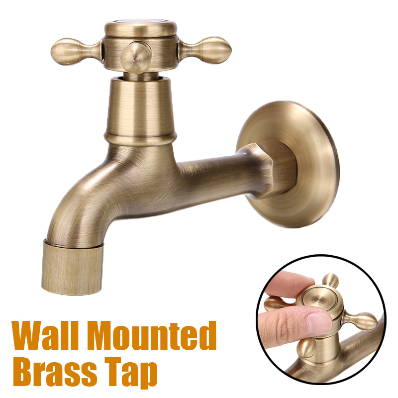 1pc Antique Brass Decorative Faucet Wall Mounted Kitchen Bathroom Single Faucet Tap Single Cold Water