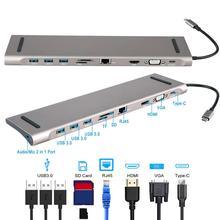 Концентратор адаптер USB C концентратор type-c 3,0 USB-C к HDMI 4K SD/TF кард-ридер PD зарядка гигабитный Ethernet адаптер для MacBook Pro концентратор