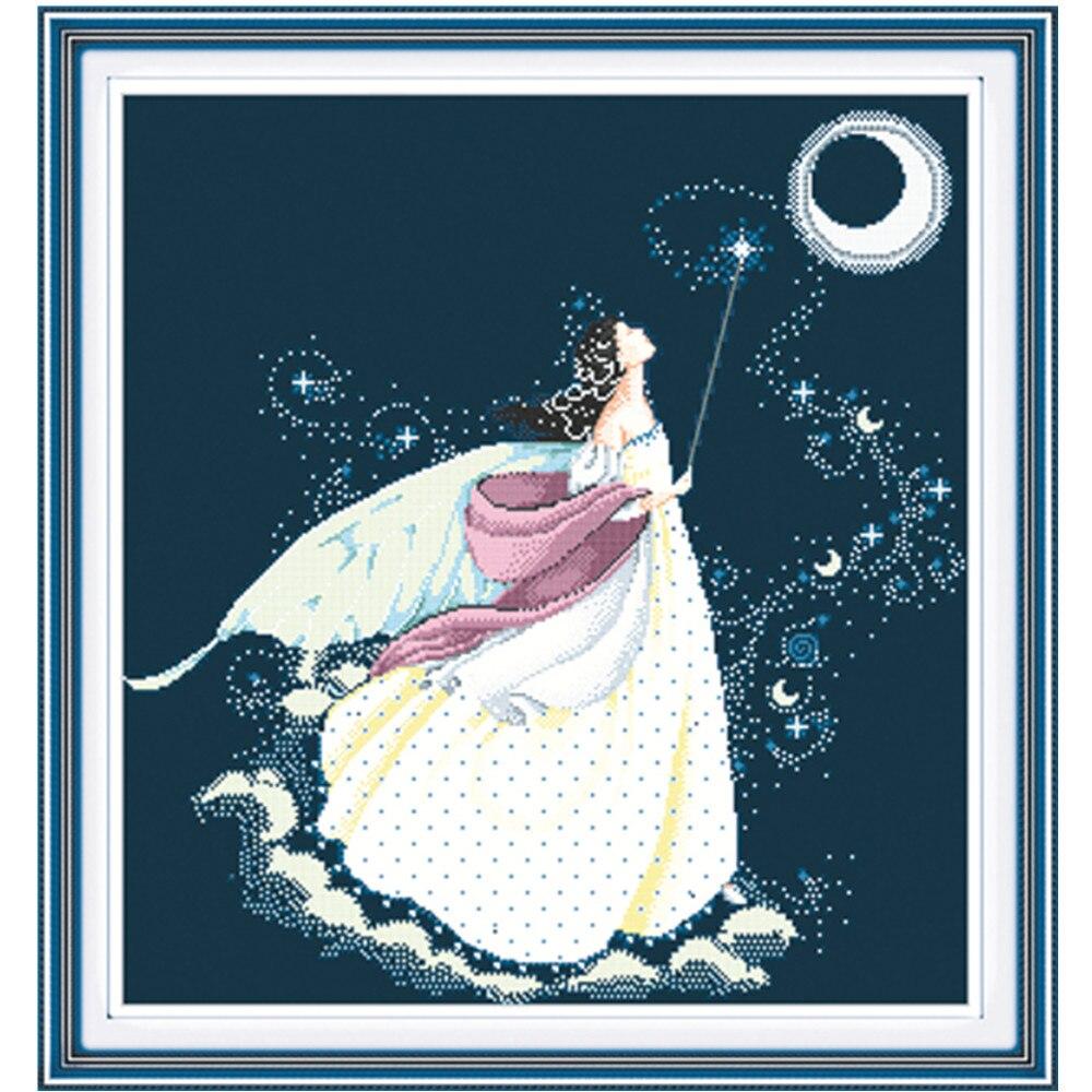 Beauty moon fairy Набор для вышивки крестиком 14ct 11ct черный темно синий льняной холст хлопок нить Бисер Вышивка Сделай Сам Рукоделие Ремесло|decorative home phones|decorative home barsdecorate home games | АлиЭкспресс