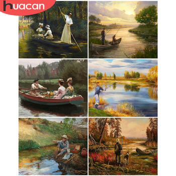 HUACAN Paint By Numbers Landscape Drawing On Canvas Gift DIY Pictures By Number Figure Kits Hand Painted Painting Art Home Decor