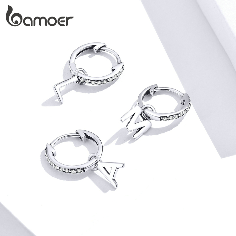 Bamoer 1 Piece 925 Sterling Silver Alphabet Letter Dangle Earrings For Women Wedding Statement Jewelry Brincos 2020 New SCE848