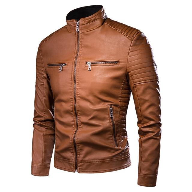 Men Spring New Motorcycle Causal Vintage Leather Jacket Coat Men Autumn Outfit Fashion Biker Pocket Design PU Leather Jacket Men 1