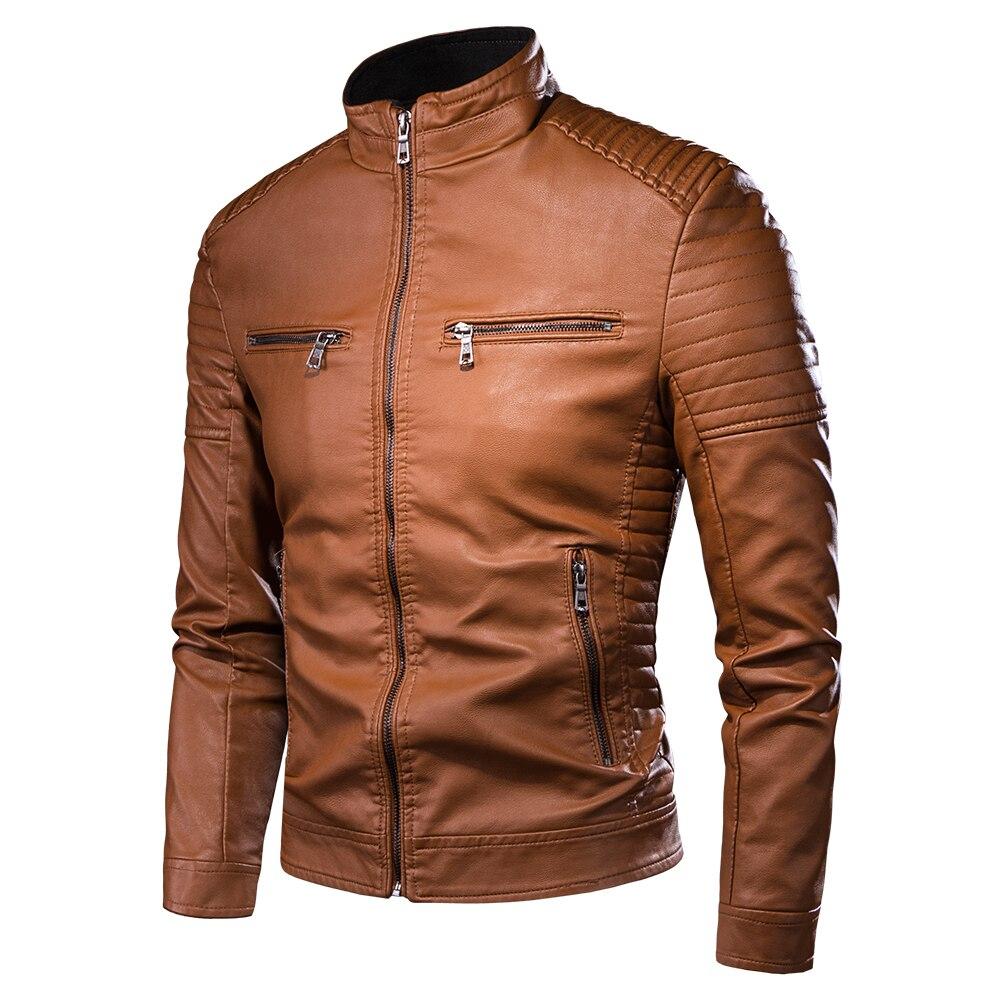 Мужская Осенняя новая мотоциклетная Повседневная винтажная кожаная куртка, пальто, Мужская одежда, модная байкерская куртка из искусственной кожи с карманами на молнии