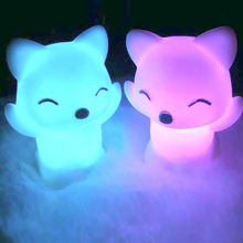 Lovely Foxes Shape LED Night Light Lamp 7 Changing Colors Energy Saving Decorations JA55