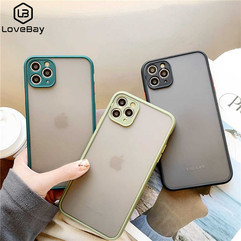 Lovebay Eenvoudige Matte Transparante Telefoon Case Voor Iphone 11 Pro Xr Xs Max 6 S 8 7 Plus Candy Soft siliconen Frame Hard Pc Back Cover