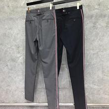 2021 Fashion TB THOM Brand Cropped Pants Men Casual Suit Pants Men's Business Striped Spring And Autumn Formal Trousers