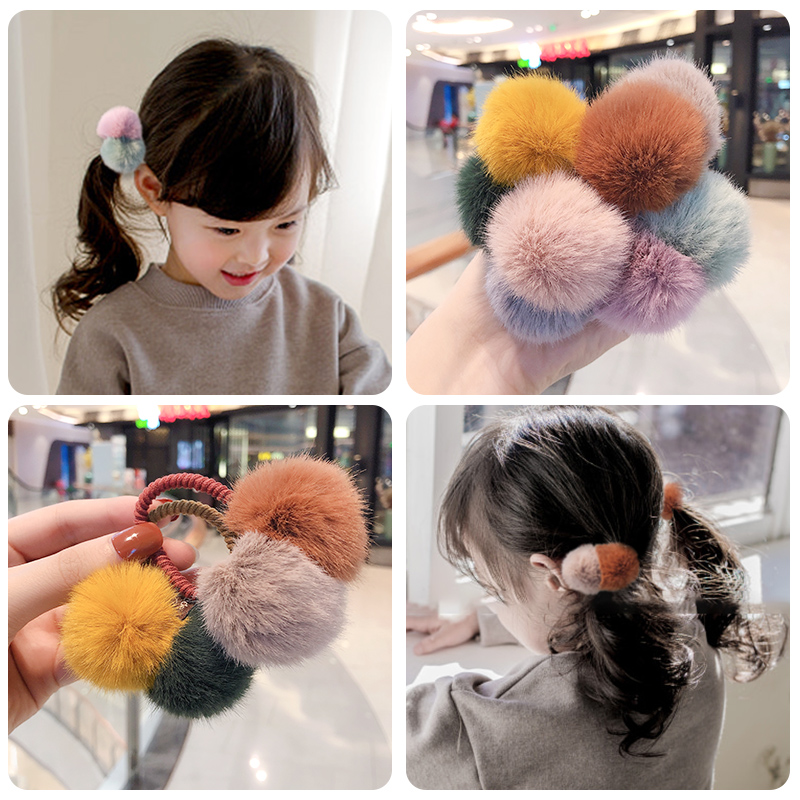 2020 Children Cute Faur Fur Mix Hairball Hair Bands Elastic Girls Lovely Soft Rubber Bands Scrunchies Kids Hair Accessories