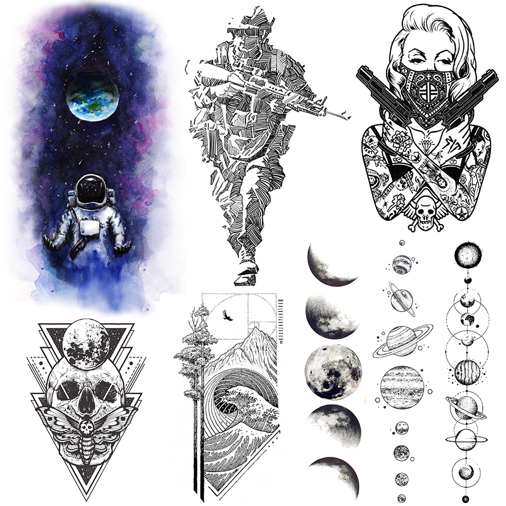 Galaxy Earth Astronaut Tattoos Temporary Body Arm Art Planet Chains Tattoo Sticker Sexy Gun Women Soldier Tatoo Paper For Adults