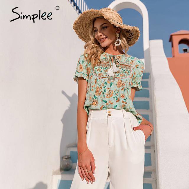 Simplee Ethnic holiday floral print loose women blouse summer Casual bow sash tassel shirts female Ruffled o-neck short top lady 2