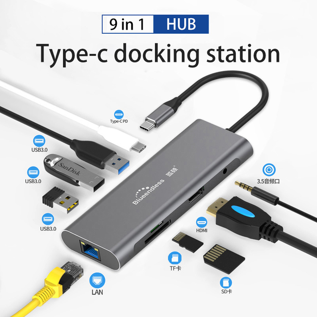 Núcleo adaptador usb c, núcleo adaptador hdmi rj45 tipo c para usb 3.0 leitor de tf sd pd laptop docking estação usb tipo c 3.1 divisor porta