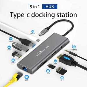 Image 1 - USB C HUB Type C to USB 3.0 HDMI RJ45 Adapter Dock for TF SD Reader Slot PD Laptop Docking Station USB Type C 3.1 Splitter Port