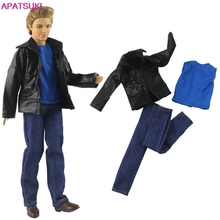 Blue Short Sleeve T-Shirts Long Jean Denim Pants Black Jacket Coat for Ken Doll Outfits Sets Clothes for Ken Boy Men Male Dolls