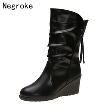 Winter Boots 2019 Women Wedges Mid Calf Boots Autumn Winter Shoes Black Leather Boots Round Toe Booties Zapatos Mujer new fashion autumn winter mid calf boots for women height increasing wedges shoes beige black boots white pearls beaded boots
