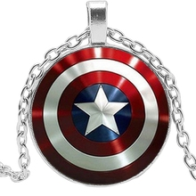 2019 Hot Creative American Captain Shield LOGO Time Crystal Glass Convex Round Pendant Necklace Clothing Sweater Chain Jewelry