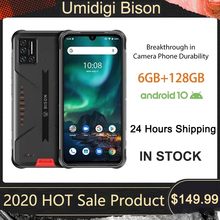 UMIDIGI BISON Smartphone Android 10 NFC 6GB+128GB IP68/IP69K Waterproof Rugged Phone 48MP Matrix Quad Camera 6.3