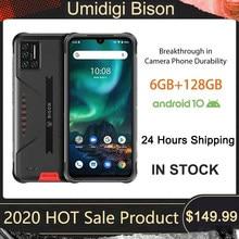 Umidigi bison smartphone android 10 nfc 6gb + 128gb ip68/ip69k impermeável robusto telefone 48mp matriz quad câmera 6.3
