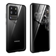 Magnetische Flip Case Voor Samsung Galaxy S20 Ultra S20 Plus Case Dubbelzijdig Gehard Glas Bumper Cover Voor Samsung s20 S 20 Capa